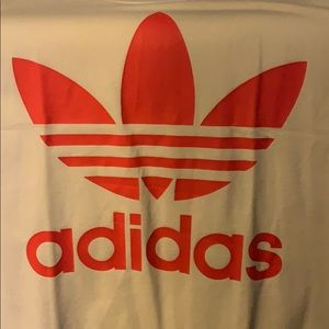 Adidas White & Salmon Classic Logo T Shirt